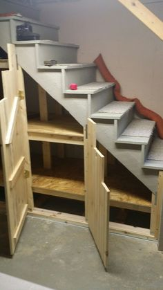 Storage under the Basement stairs.