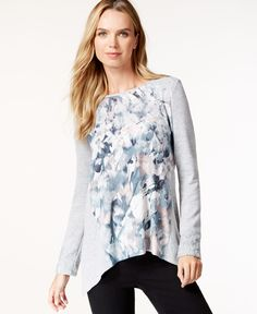 Style & Co. Lace-Trim Handkerchief-Hem Top, Only at Macy's