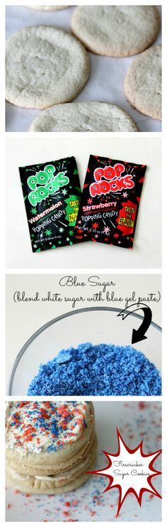 Fourth of July firecracker cookies would be fun for the kids to make, then eat - poprocks pop rocks sugar cookie recipe for fireworks celebration on July 4th - Independence Day - 4th of July dessert ideas and dessert recipes for party parties