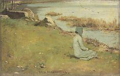 ■ HAWKINS, Louis Welden (French, 1849-1910) -   Jeune fille au bord de la riviere. Oil on canvas 35.5 x 55.5 cm    (http://www.christies.com/LotFinder/lot_details.aspx?intObjectID=5327295) ■ Луис Велден ХОУКИНС - Девушка у реки