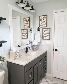 list of 36 gorgeous farmhouse bathroom design ideas can help. This list of 36 gorgeous farmhouse bathroom design ideas can help. Diy Bathroom Remodel, Diy Bathroom Decor, Bathroom Interior Design, Home Interior, Bathroom Storage, Bathroom Ideas, Bathroom Remodeling, Bathroom Vanities, Bathroom Cabinets