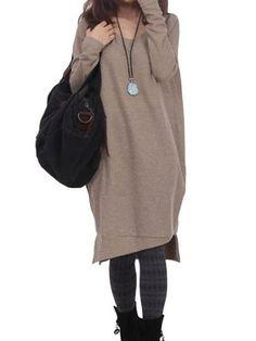 Khaki Straight Casual Women's Sweater Dress