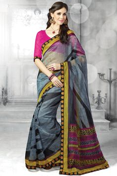 Grey printed party wear saree with matching  blouse From Hdbazaar.