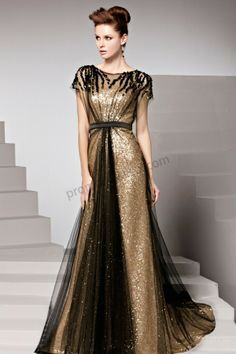 Prom dresses 2014 - Gold Round neck Short Sleeves Empire Waist Sequins Evening Dress BY516