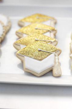 sparkly grad cap cookies