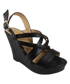 Love this Black Strappy Baya Wedge Sandal on #zulily! #zulilyfinds