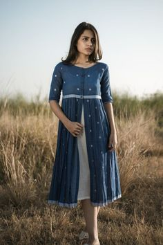 The Forest Walk Dress by Alterego Simple Kurti Designs, New Kurti Designs, Kurta Designs Women, Kurti Designs Party Wear, Stylish Dresses For Girls, Simple Dresses, Casual Dresses, Casual Frocks, Frock For Women