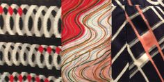 "3 detail shots of 1950's era meisen from ""Global Threads"" exhibition featuring Kimono Collection of Yoshiko Iwamoto Wada. Photo by Jay Rich"