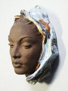 KARLSRUHE ART POTTERY FEMALE WALL MASK WANDMASKE | eBay