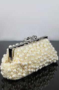 Wedding clutch bag, beads, pearls, evening bag