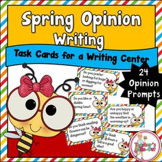 Spring Opinion Writing will have your students expressing their opinions all spring season. This little pack includes 24 task cards that have a spring related question on it. These questions are meant to spark some interest in students to write some of their opinions.