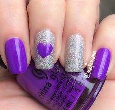 "Beautiful Purple ""Plur-ple"" by @chinaglaze with Loreal Holographic Pearls"