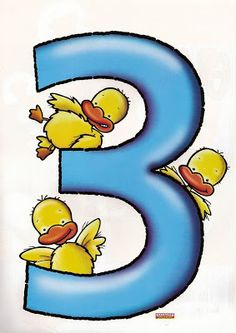 Desenhos de Números Coloridos Para Imprimir - Númerais Coloridos. Número 3.