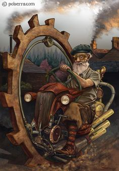 Illustration by Pol Serra #Monobike #Steampunk #Fantasy