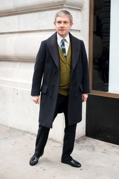 LONDON, ENGLAND - JANUARY 08: Martin Freeman actor wearing a Paul Smith jacket on day 2 of London Mens Fashion Week Autumn/Winter 2013, on January 08, 2013 in London, England.