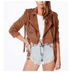 Fringed Suede Crop Jacket ($40) ❤ liked on Polyvore