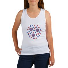 Women's Tank Top With Red-Blue Polka Dots