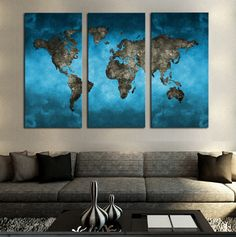 Blue World Map Panel Painting