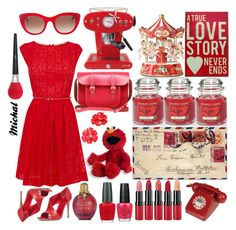 """""""Red"""" by michal100-15-4 ❤ liked on Polyvore featuring Wild & Wolf, Yankee Candle, The Cambridge Satchel Company, Oasis, Gianvito Rossi, Christian Dior, Rimmel, OPI, Gund and Thierry Lasry"""