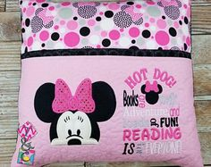 Check out our reading pillow selection for the very best in unique or custom, handmade pieces from our shops. Pillow Embroidery, Embroidery Monogram, Machine Embroidery Applique, Embroidery Patterns, Baby Applique, Sewing Patterns, Book Pillow, Reading Pillow, Book Quilt