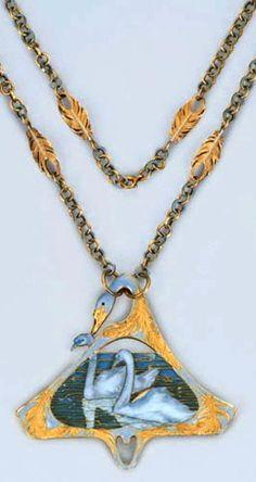 Lalique 1902 Enamel Swan Pendant & Necklace: a reversible shaped triangular pendant w/two frosted glass swans on plique-à-jour blue/ grey enamel water