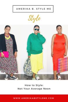 """Neon is deemed as """"the season's most eye popping trend"""" by @voguemagazine and with good reason. If you want to ease into it, try one piece, or go full on, these looks are Not Your Average Neon. #neontrend #springtrends2019 #amerikabstyleme"""