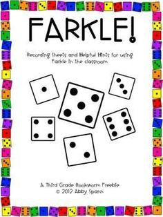 After teaching Farkle to my summer school students, I created these printables to support their understanding of the game. **New: I added 4 additional pages for an alternate scoring option!**Color and black and white versions are included. Enjoy!