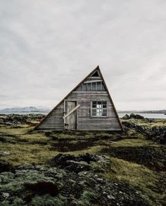 "upknorth: ""If all else fails, buy a fixer-upper in Iceland. Isolated cabin-living along Nordic shores. Stunning shot by (at Iceland) "" A Frame Cabin, A Frame House, Cabin In The Woods, Le Havre, Rustic Design, Abandoned Places, Architecture, Fixer Upper, Cottage"