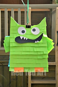 Quick Monster Pinata out of a paper bag and post-its!  Link also has an owl pattern