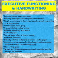When Executive Function Skills Impair Handwriting is part of Teaching executive functioning - Executive functioning skills are needed for handwriting These tips and tricks can help kids at home and at school Teachers Aide, Parents As Teachers, Improve Your Handwriting, Handwriting Practice, Working Memory, Executive Functioning, School Psychology, Learning Disabilities, Speech And Language
