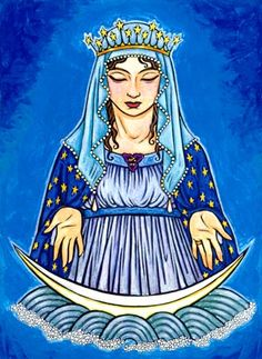 """Stella Maris. Aspect of the Christian Virgin Mary as spiritual guide. Lunar crescent, wearing a starry crown, Her typical iconography, which probably references Revelations 12:1: """"a woman... with the moon under her feet, and on her head a garland of 12 stars."""" By Thalia Took. #goddess"""