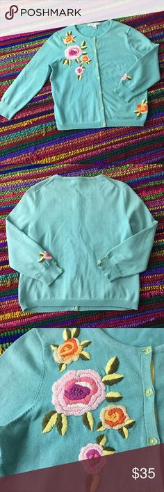 CAbi #923 Embroidered Floral Sweater Sz Sm Soft Minty/Turquoise Green sweater with bright & cherry Embroidered flowers on front and bottom hem also on one sleeve , even the buttons are cute ! Sweater has been gently worn but still has a lot of life and embroidery is in great condition- see pics for color reference and sweater condition. Size Small - Bust is 17 inches Length is 19, made of 100% Cotton. CAbi Sweaters Cardigans