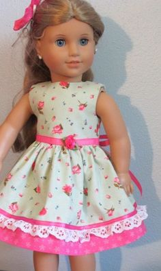 """Dress and Hair Bow for 18"""" American Girl doll-Green with pink roses #Handmade"""