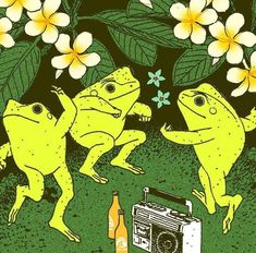 Psychedelic Art, Photo Wall Collage, Collage Art, Picture Wall, Arte Indie, Hippie Wallpaper, Frog Wallpaper, Frog Art, Cute Frogs
