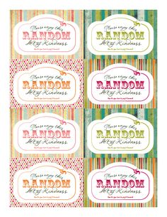 Random acts of kindness printable...