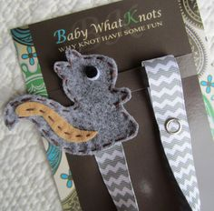 Baby Boy Pacifier Clip, Squirrel Pacifier Clip, Gray Chevron Pacifier Holder, pcsquirrel02