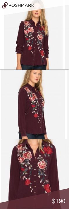 """New JOHNNY WAS Mica Button Back Top Size Large This is a brand new button down top by JOHNNY WAS. It's called the """"Mica Button Back"""" and the embroidery is on the front, the shoulders and down the middle of the back. It also has buttons in the back that allow for a more fitted look. The roses are truly gorgeous! You will absolutely fall in love with this top. Size Large. Original price was $238. Johnny Was Tops Button Down Shirts"""