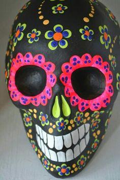 Day of the Dead skull Mexican Skulls, Mexican Folk Art, Sugar Skull Art, Sugar Skulls, Sugar Skull Painting, All Souls Day, Day Of The Dead Skull, Candy Skulls, Skull Decor