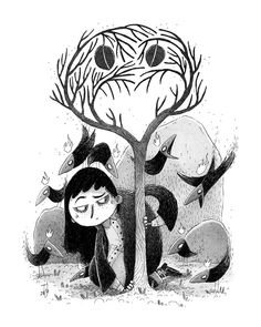 """Teemu Juhani on Instagram: """"Inktober Day 5: The Last Tree 🍂 . . #inktober #inktober2019 #inktoberday5 #illustration #childrenillustration #kidsillustration #ink…"""" Halloween Illustration, Halloween Themes, Inktober, Illustrators, Whimsical, Doodles, Sketchbook Ideas, Day, Authors"""
