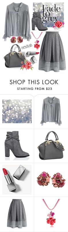"""""""Neutral and a Pop!"""" by tjclay3 ❤ liked on Polyvore featuring WALL, Chicwish, Burberry, Dolci Gioie, neutrals, grey, gray and polyvoreeditorial"""