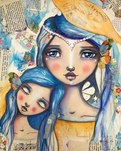 Some more on this painting. Kunstjournal Inspiration, Art Journal Inspiration, Mixed Media Canvas, Mixed Media Art, Mixed Media Faces, Illustrations, Face Art, Art Faces, Art Journal Pages
