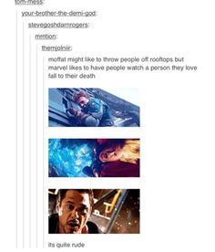 When moffat has people fall to their death, we ARE the people who love them who watch them fall to their death