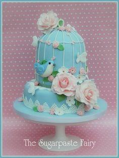 Birdcage Christening cake Cake by SugarpasteFairy Pretty Cakes, Beautiful Cakes, Bird Cage Cake, Christening Cake Girls, Baby Shower Cake Decorations, Fantasy Cake, Bird Cakes, Cakes For Women, Gingerbread Cake