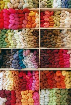 somuchyarnsolittletime:    (via Yummy Yarn / Wall of yarn: just fab)