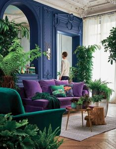 If you are looking for Velvet Living Room Furniture Ideas, You come to the right place. Below are the Velvet Living Room Furniture Ideas. Living Colors, Colourful Living Room, Living Room Green, Boho Living Room, Living Room Decor, Salons Violet, Design Scandinavian, Interior Desing, Purple Interior