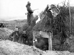 Japanese soldiers during a break in the trenches in China.
