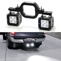 Tow Hitch Mount High Power CREE LED Pod Backup Reverse Lights/Rear Search Lighting/Off-Road Work Lamps I need this if rear bumper doesn't have light mounts New Trucks, Cool Trucks, Chevy Trucks, Pickup Trucks, Lifted Chevy, Custom Trucks, Truck Drivers, Jeep Jk, Accessoires 4x4