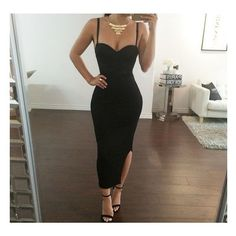 Ankle Length Black Bodycon Dress Outfit,v-neck Sexy Prom Dress, Slit Evening Dress on Luulla Straps Prom Dresses, Backless Prom Dresses, Black Prom Dresses, Sexy Dresses, Cute Dresses, Beautiful Dresses, Evening Dresses, Short Dresses, Prom Gowns