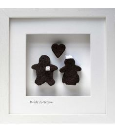 Bride & Groom with Heart. Bog Buddies - The Cat and the Moon Engagement Gifts, Bride Groom, Moon, Cat, Frame, Wedding, Products, Engagement Presents, The Moon