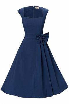 The 1950s Grace Midnight Blue Bow vintage style swing party rockabilly evening dress from Lindy Bop is a classy swing dress with playful accents and inspired by the elegant fifties style of Grace Kelly.Beautiful semi sweetheart neckline with edgy black piping. Just above the waist a cute bow with pleats and ending in a full circle skirt which can be worn with a petticoat to add more drama to it, see our pictures. Side zipper. This is a long dress hits below the knee and is made of a ...